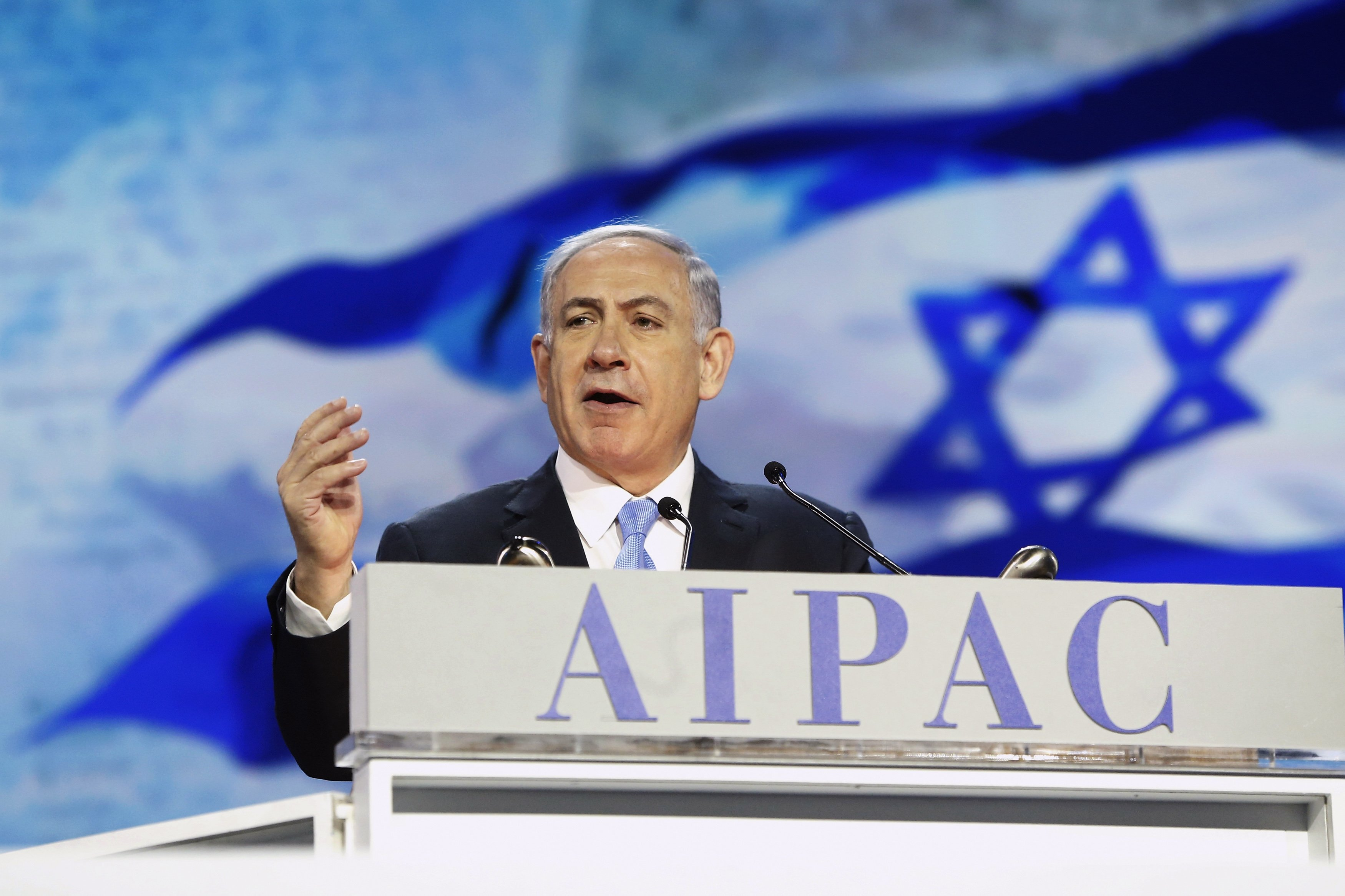 """Israel's Prime Minister Benjamin Netanyahu addresses the American Israel Public Affairs Committee (AIPAC) policy conference in Washington, March 2, 2015. Netanyahu said on Monday that the alliance between his country and the United States is """"stronger than ever"""" and will continue to improve. REUTERS/Jonathan Ernst (UNITED STATES - Tags: POLITICS TPX IMAGES OF THE DAY)"""